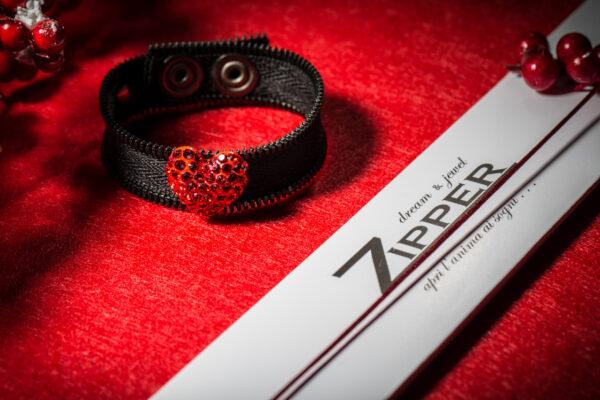 Zipper Limited Edition - Bracciale nero con decorazione rossa